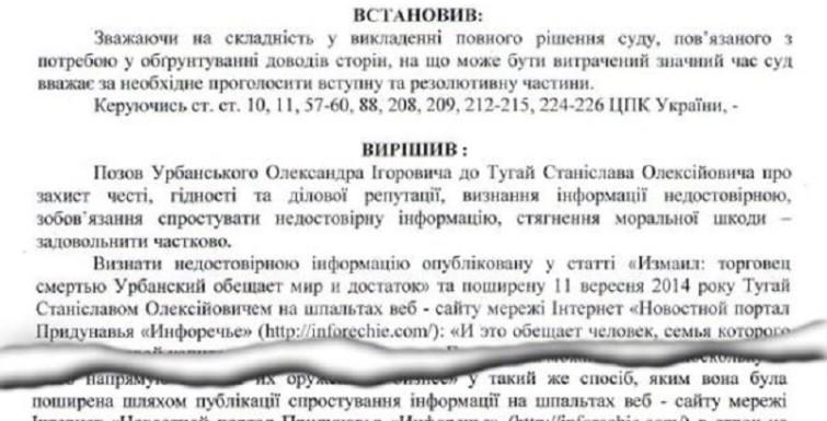 Клевета об Александре Урбанском наказана судом